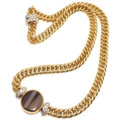 Pomellato Diamond Garnet Yellow Gold Pendant Necklace