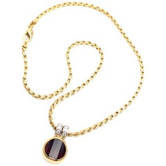 Pomellato Diamond Garnet Yellow Gold Pendant Necklace