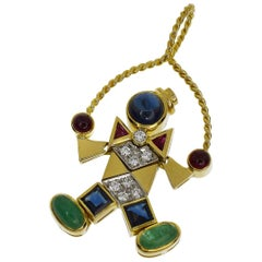 Pomellato Diamond Ruby Sapphire Emerald 18 Karat Gold Clown Pendant Top Charm