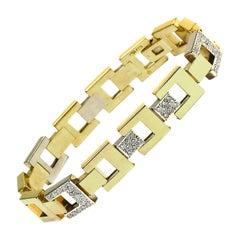 Pomellato Diamond Square Link Bracelet in 18 Karat Yellow and White Gold