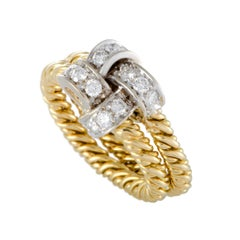 Pomellato Diamond Yellow and White Gold Knotted Band Ring