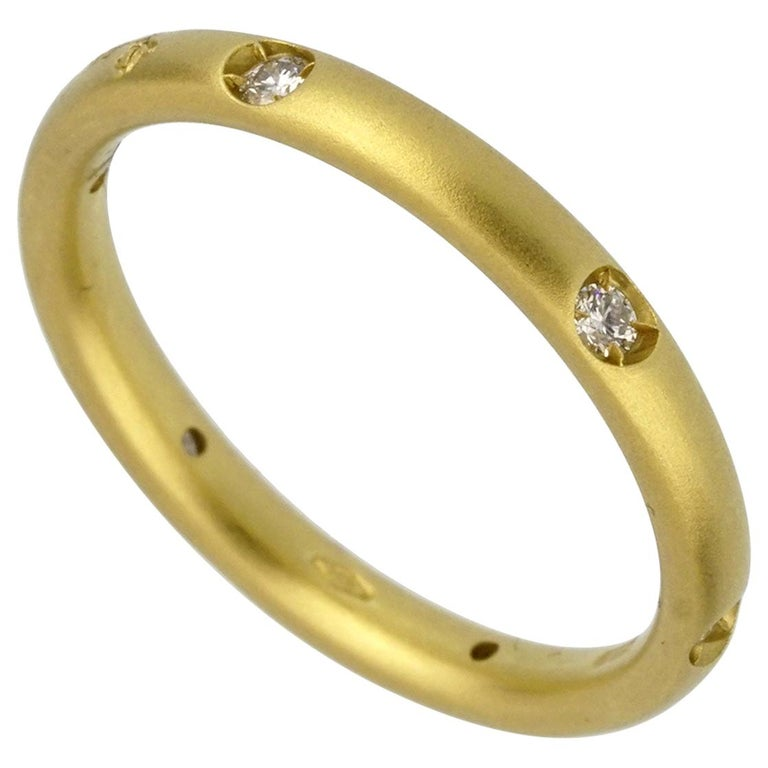 Pomellato Diamond Yellow Gold Band Ring For Sale