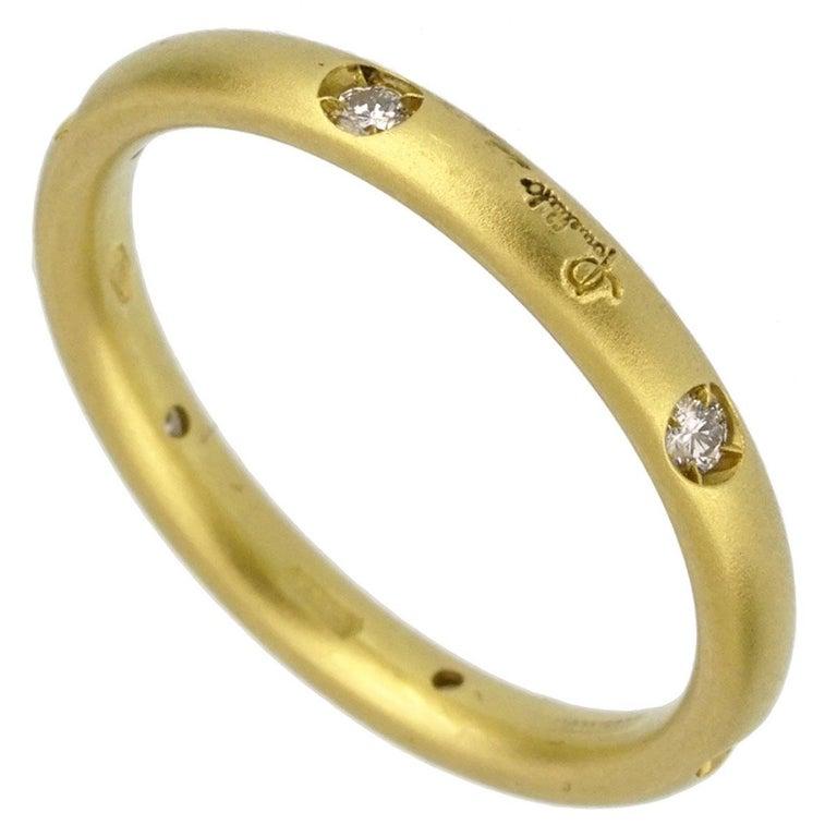 Round Cut Pomellato Diamond Yellow Gold Band Ring For Sale