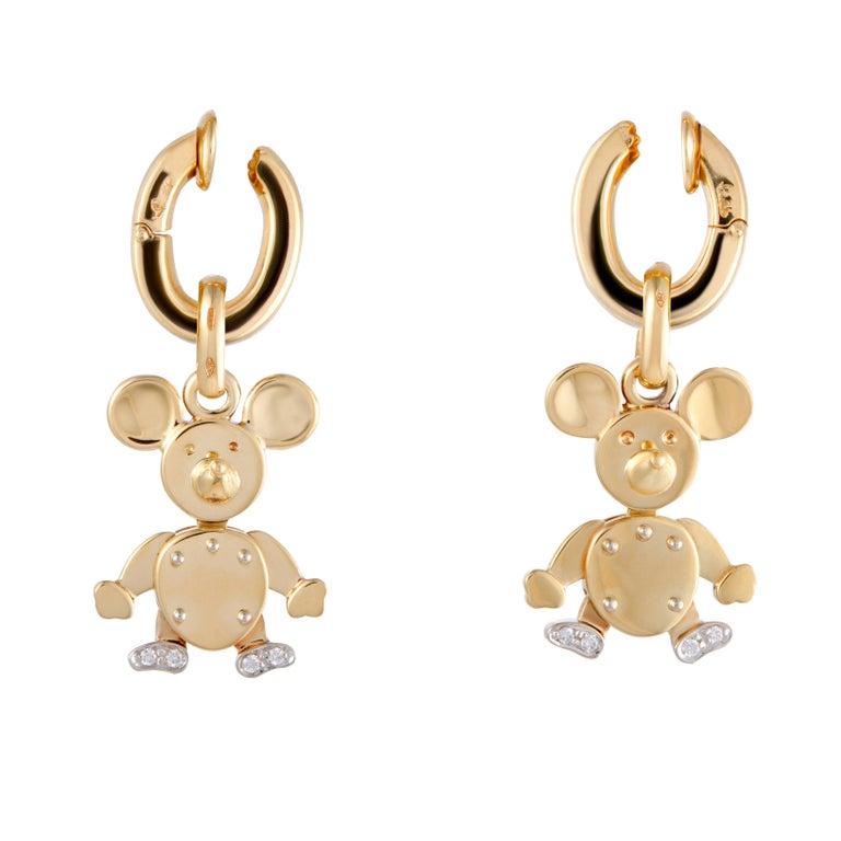 Pomellato Diamond Yellow Gold Mouse Dangle Clip-On Earrings
