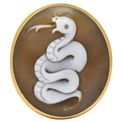 Pomellato Eva Rose Shell 18 Karat Rose Gold Snake Cameo Unisex Ring