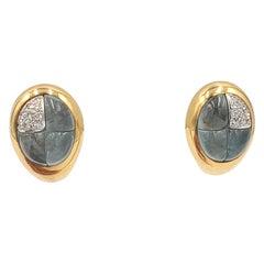 Pomellato Gold Diamond and Blue Topaz Earrings