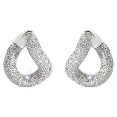 Pomellato Gourmette Diamond Hoop Earrings in 18K White Gold 2.90 CTW