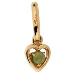 Pomellato Green Chalcedony Yellow Gold Heart Charm Pendant