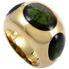 Pomellato Green Tourmaline Yellow Gold Band Ring