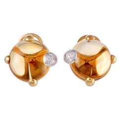 Pomellato Griffe Citrine and Diamond Yellow and White Gold Clip-On Earrings