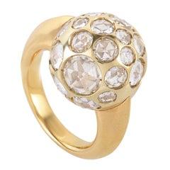 Pomellato Harem 18 Karat Yellow Gold and Rock Crystal Sphere Ring