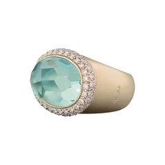 Pomellato Iceberg Collection Ring in 18 Karat Rose Gold, Diamonds and Aquamarine