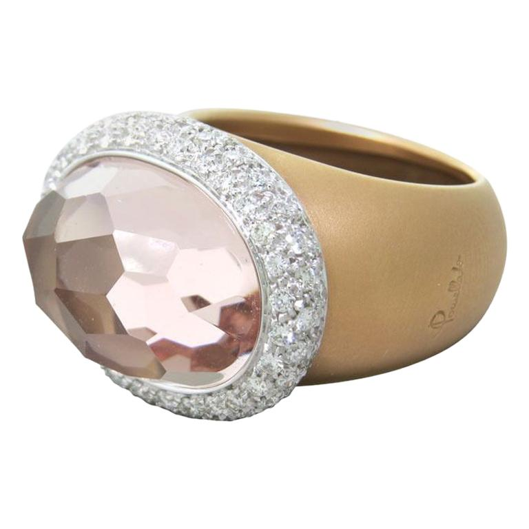 Pomellato Iceberg Collection Ring in 18 Karat Rose Gold, Diamonds and Morganite