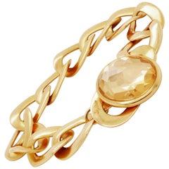 Pomellato Italy 18 Karat Rose Gold and Quartz Narciso Curb Link Bracelet Modern