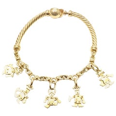 Pomellato King and Queen Yellow Gold Charm Bangle Bracelet