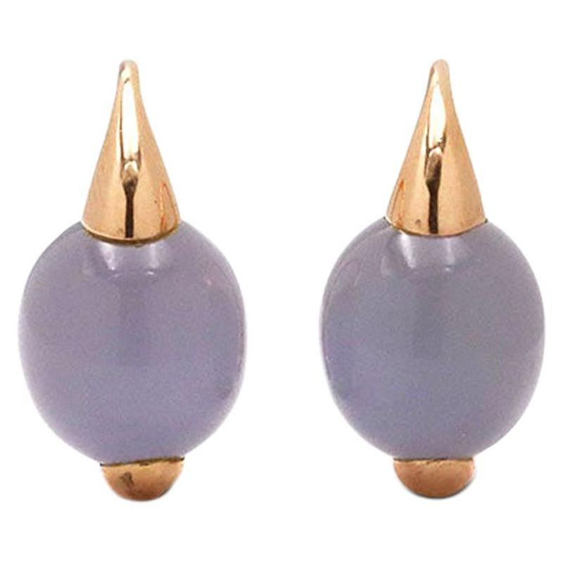 Pomellato Luna Rose Gold and Chalcedony Earrings