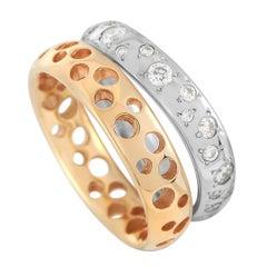 Pomellato Milano 18k Rose Gold and White Gold 0.81 Ct Diamond Duo Ring