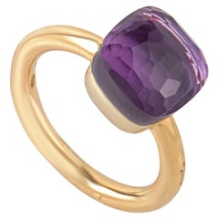 Pomellato Nudo 18 Karat Rose and White Gold Amethyst Square Cushion Ring