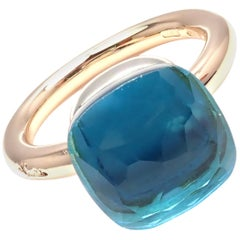 Pomellato Nudo Blue Topaz Rose and White Gold Ring