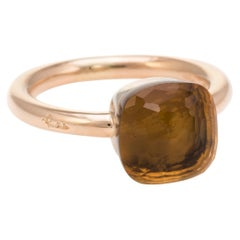 Pomellato Nudo Citrine Quartz Ring 18 Karat Rose Gold Estate Fine Jewelry