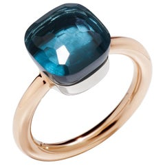 Pomellato Nudo Classic Ring Rg & Wg with London Blue Topaz Ref. A.A110/O6/TL 53