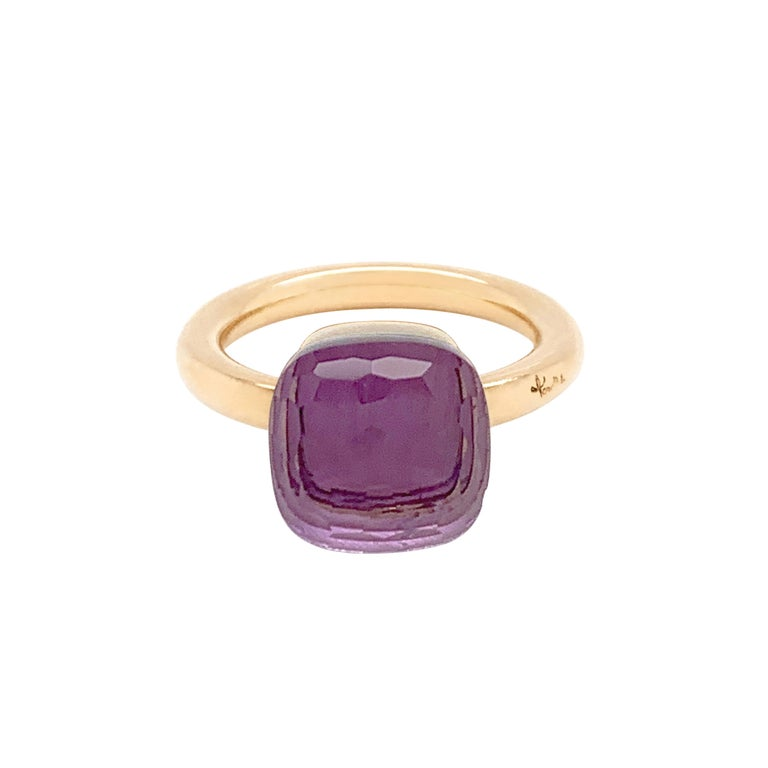 From the classic Pomellato 'Nudo' collection, a beautiful Rose De France amethyst measuring approximately 10mm x 10mm and weighs approximately 5.00 carat mounted in 18 carat rose gold. The ring features the classic Pomellato signature and hallmarks.