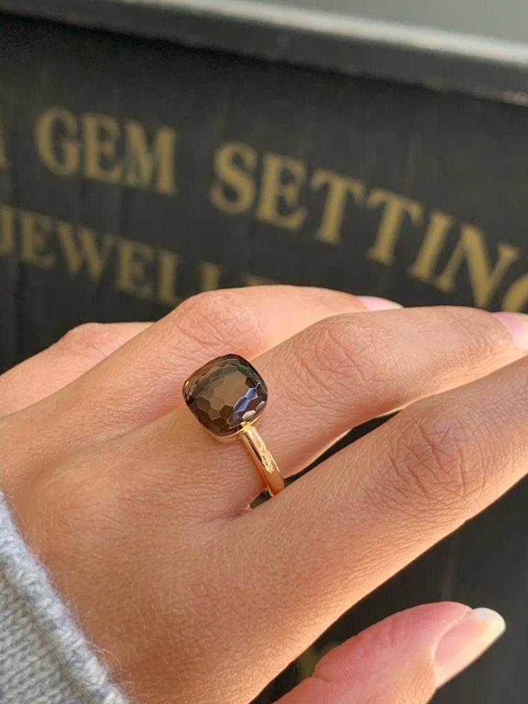 Pomellato Nudo Collection Smokey Quartz 18 Carat Rose Gold Ring For Sale 4