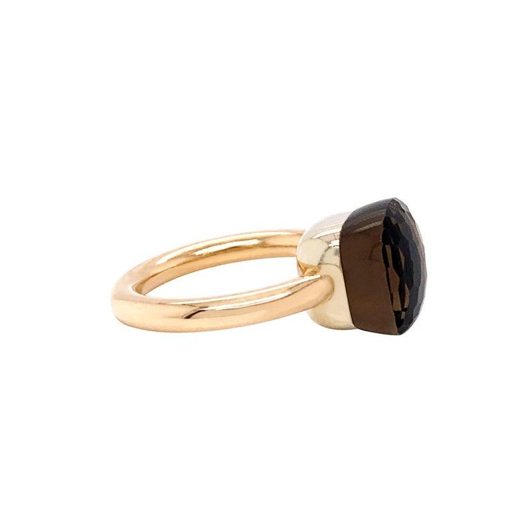 Modern Pomellato Nudo Collection Smokey Quartz 18 Carat Rose Gold Ring For Sale