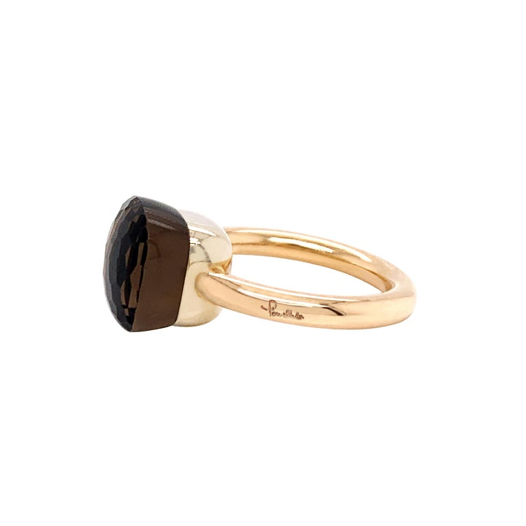 Cushion Cut Pomellato Nudo Collection Smokey Quartz 18 Carat Rose Gold Ring For Sale