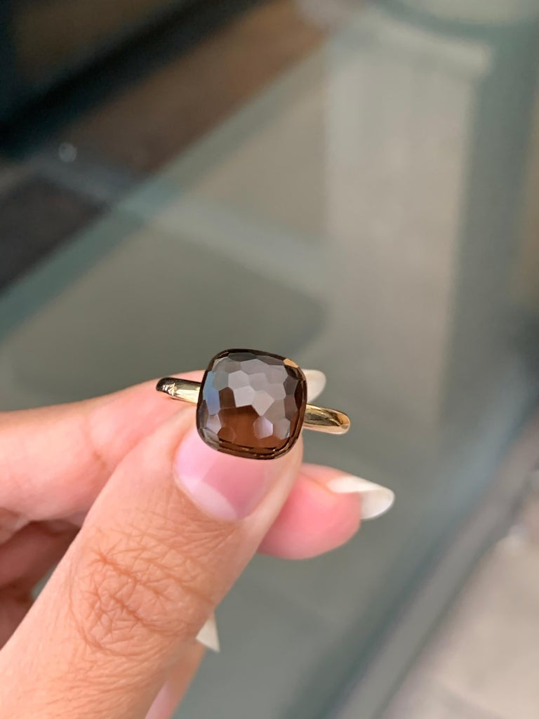 Women's Pomellato Nudo Collection Smokey Quartz 18 Carat Rose Gold Ring For Sale