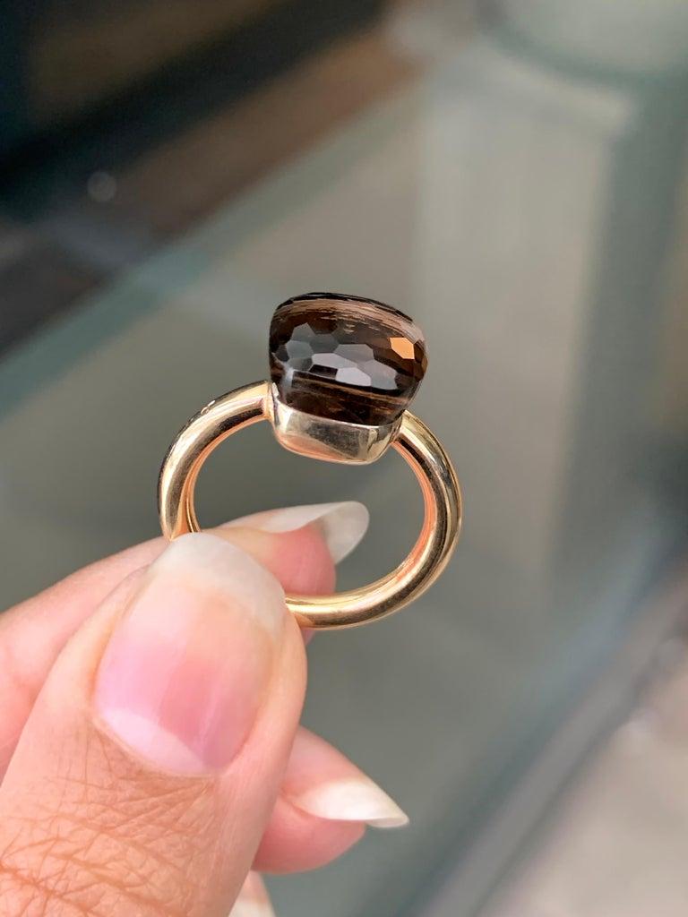 Pomellato Nudo Collection Smokey Quartz 18 Carat Rose Gold Ring For Sale 2