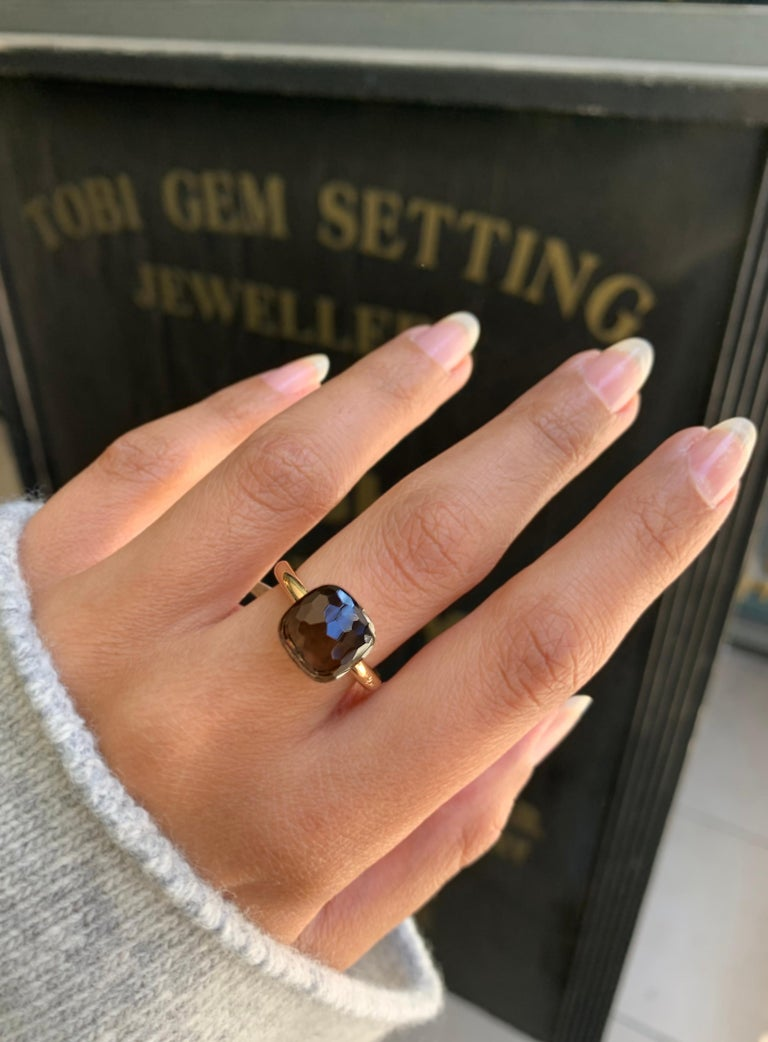 Pomellato Nudo Collection Smokey Quartz 18 Carat Rose Gold Ring For Sale 3