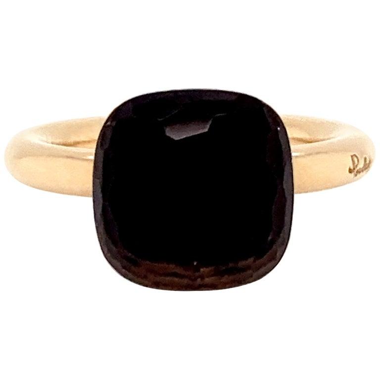 Pomellato Nudo Collection Smokey Quartz 18 Carat Rose Gold Ring For Sale