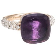Pomellato Nudo Maxi Ring Amethyst Diamond 18 Karat Gold