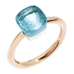Pomellato Nudo Petit Ring in White and Rose Gold with Blue Topaz A.B403-O6-OY
