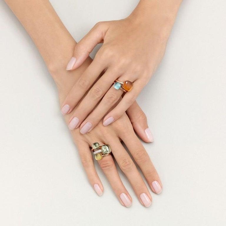 Pomellato Nudo Petit Ring in White and Rose Gold Citrine