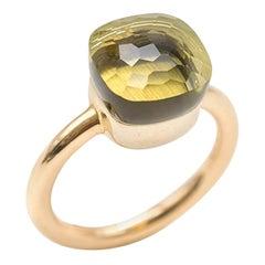 Pomellato Nudo Rose and White Gold with Lemon Quartz Ring