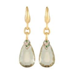 Pomellato Pin Up 18k Yellow Gold Citrine, Diamond, and Tsavorite Earrings