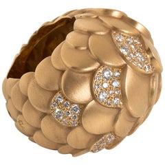 Pomellato Pink Gold Scales Diamond Ring