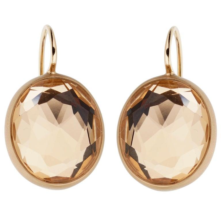 Mixed Cut Pomellato Quartz Satin Finish Rose Gold Earrings For Sale