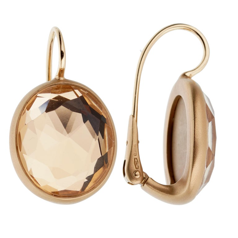 Pomellato Quartz Satin Finish Rose Gold Earrings In Excellent Condition For Sale In Feasterville, PA