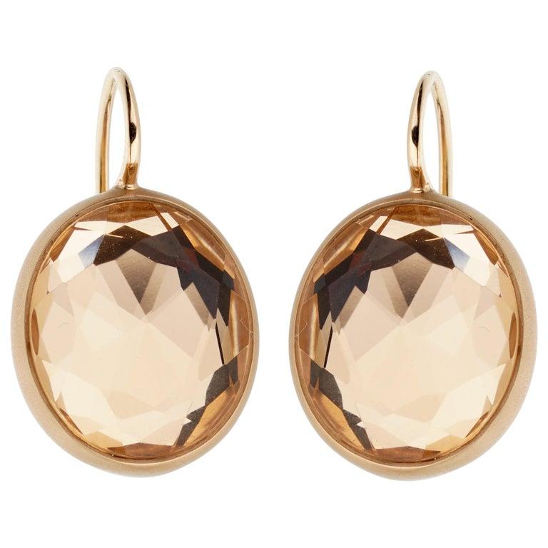 Pomellato Quartz Satin Finish Rose Gold Earrings For Sale