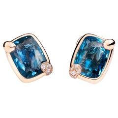 Pomellato Ritratto 18 Karat Gold and London Blue Topaz Earrings