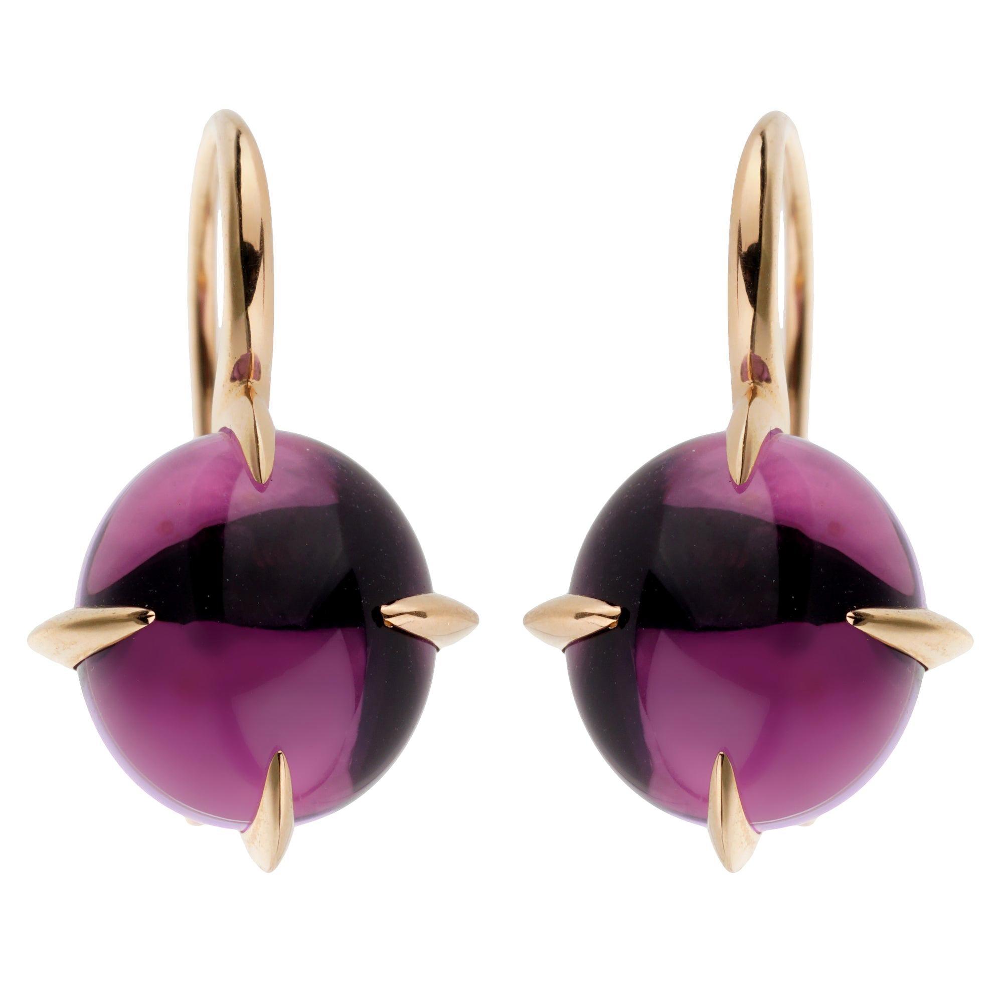 Pomellato Rose Gold 16.60ct Amethyst Drop Earrings