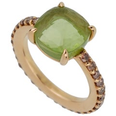 Pomellato Rose Gold 3 Carat Peridot Champagne Diamond Ring