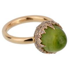 Pomellato Rose Gold 8 Carat Peridot Diamond Cocktail Ring