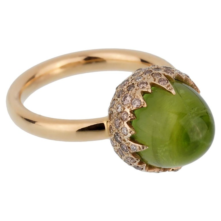 Pomellato Rose Gold 8 Carat Peridot Diamond Cocktail Ring For Sale