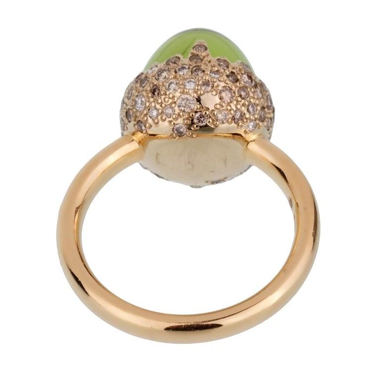 Cabochon Pomellato Rose Gold 8 Carat Peridot Diamond Cocktail Ring For Sale