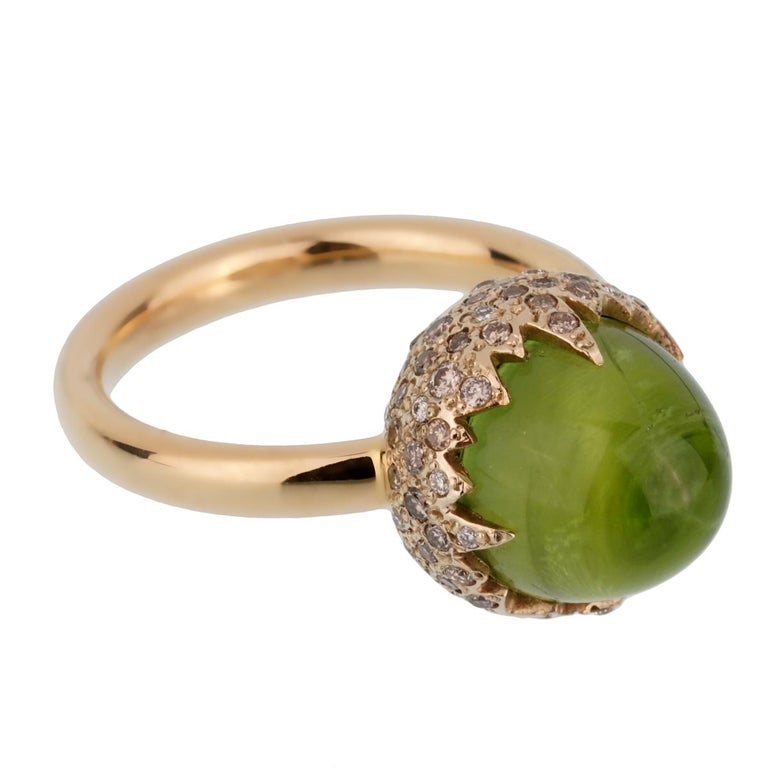 Pomellato Rose Gold 8 Carat Peridot Diamond Cocktail Ring In New Condition For Sale In Feasterville, PA