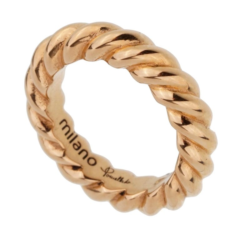 Women's or Men's Pomellato Rose Gold Braided Pendant For Sale